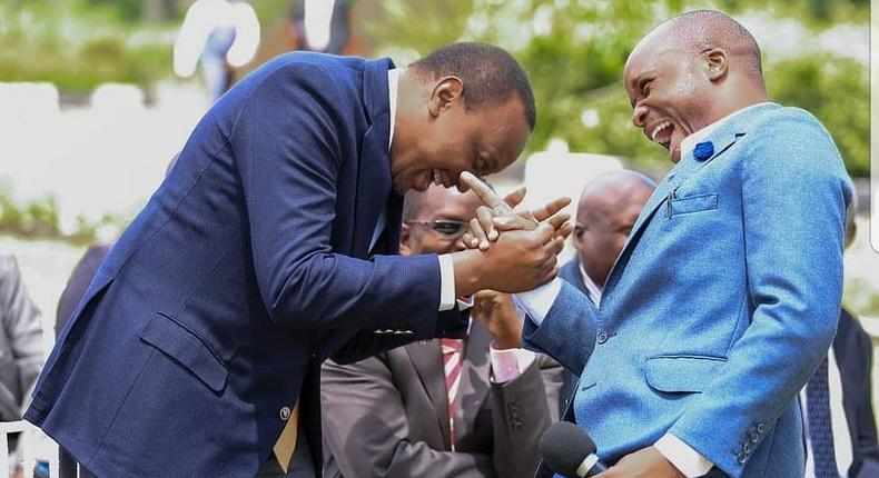 President Uhuru Kenyatta with Jalang'o at a past event. Jalang'o's message on A-students arouses mixed reactions