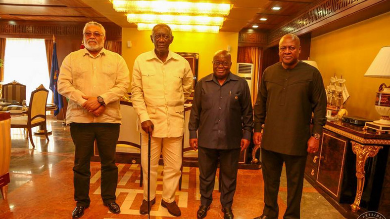 President of Ghana, Nana Addo Dankwa Akufo-Addo with the three former Presidents of the Republic, Jerry John Rawlings, John Agyekum Kufuor and John Dramani Mahama