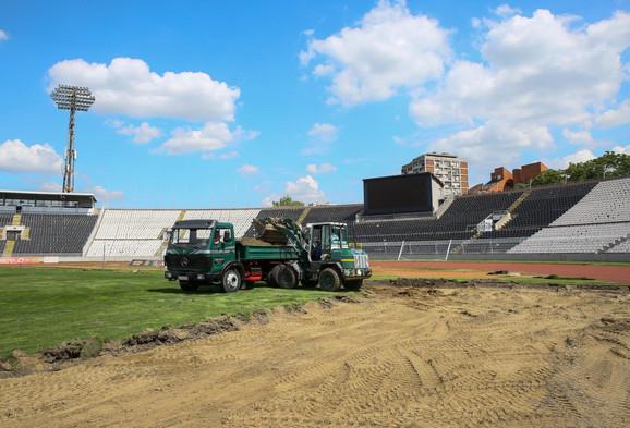 Radovi na stadionu Partizana