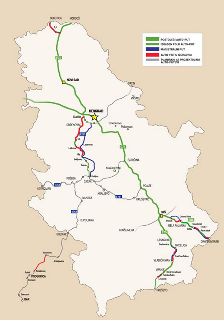 mapa autoputa srbije NAJNOVIJA DETALJNA MAPA SRPSKIH AUTOPUTEVA Evo koji su delovi  mapa autoputa srbije