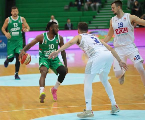 Detalj sa meča Cedevita Olimpija - Budućnost na turniru ABA Superkupa 2019. u Zagrebu