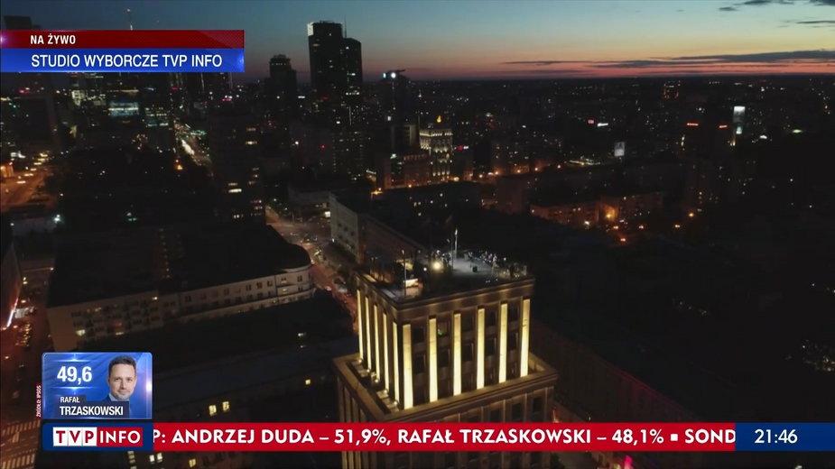 """Studio wyborcze TVP na dachu wieżowca """"Prudential"""" w Warszawie"""
