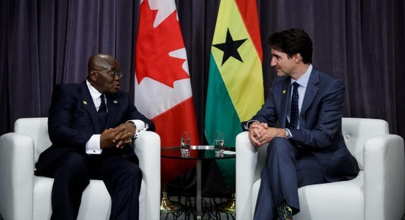 Ghana's President Nana Akufo-Addo and  Prime Minister of Canada Justin Trudeau,
