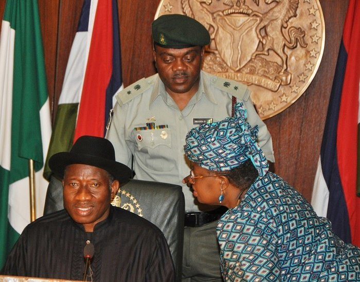 Former president, Goodluck Jonathan, with former Minister of Finance, Ngozi Okonjo-Iweala during a federal executive council meeting (Presidency)