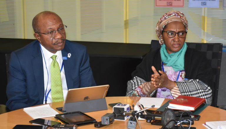 The Governor, Central Bank of Nigeria, Mr Godwin Emefiele, with the Minister of Finance, Budget and National Planning, Mrs. Zainab Ahmed, at the news briefing on Nigeria's participation in the just-concluded World Bank/IMF Annual Meetings in Washington, United States on Sunday, Oct. 20, 2019. (NAN)