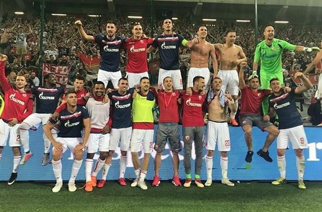 Proslava igrača nakon pobede u Slovačkoj