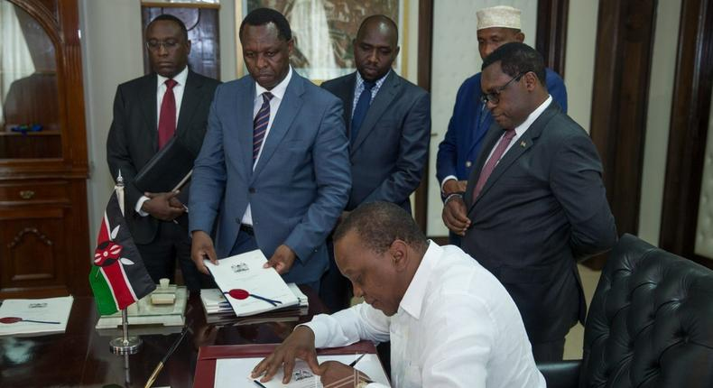 President Uhuru Kenyatta at his office on May 13, 2019