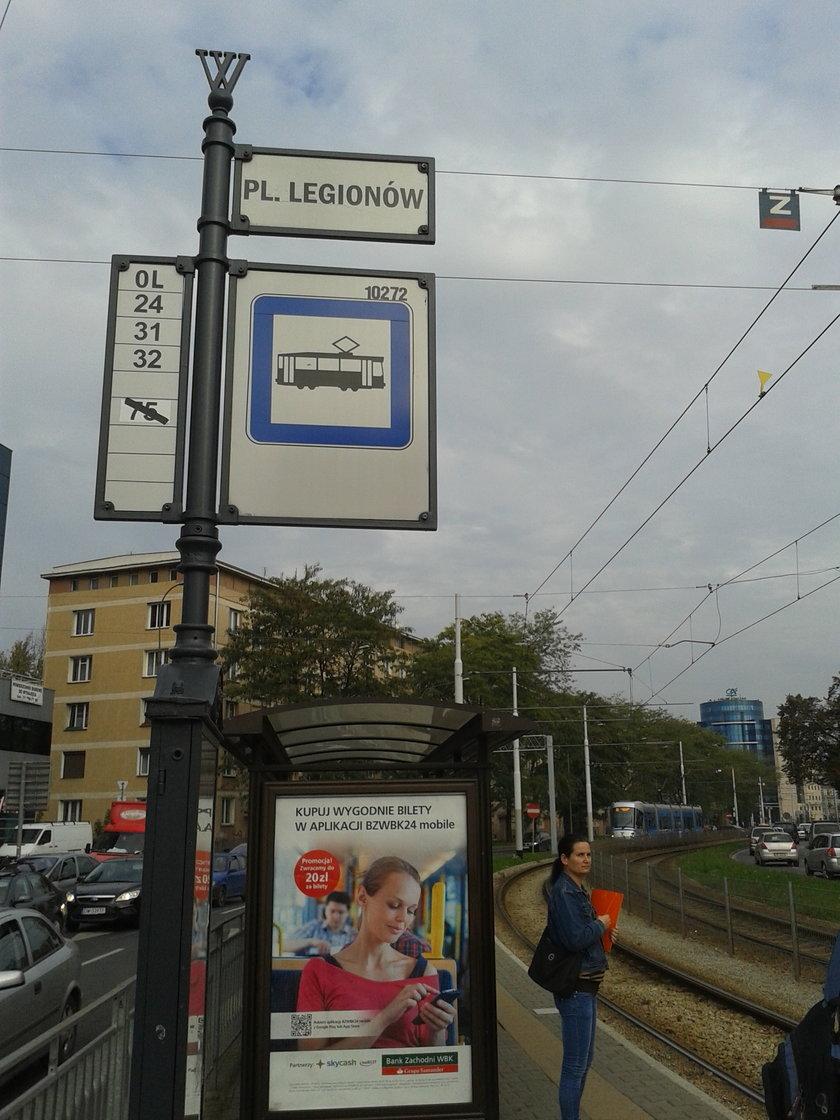 Przystanek tramwajowy na pl. Legionów we Wrocławiu