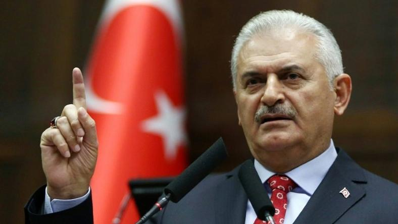 Turkish Prime Minister Binali Yildirim addresses a national assembly of the ruling Justice and Development Party (AK) in Ankara, on November 1, 2016