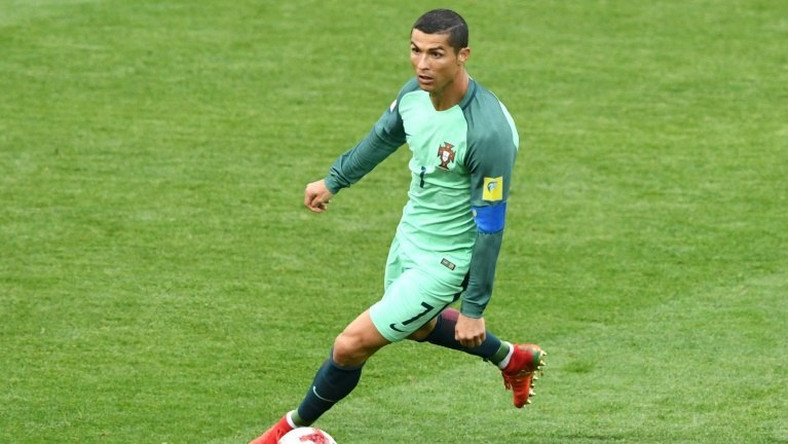 Portugal's forward Cristiano Ronaldo controls the ball during the 2017 Confederations Cup group A football match against Russia June 21, 2017