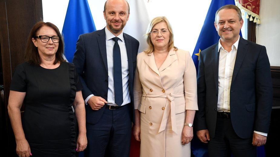 Od lewej: Krystyna Stachowska, Konrad Fijołek, Jolanta Kaźmierczak, Dariusz Urbanik