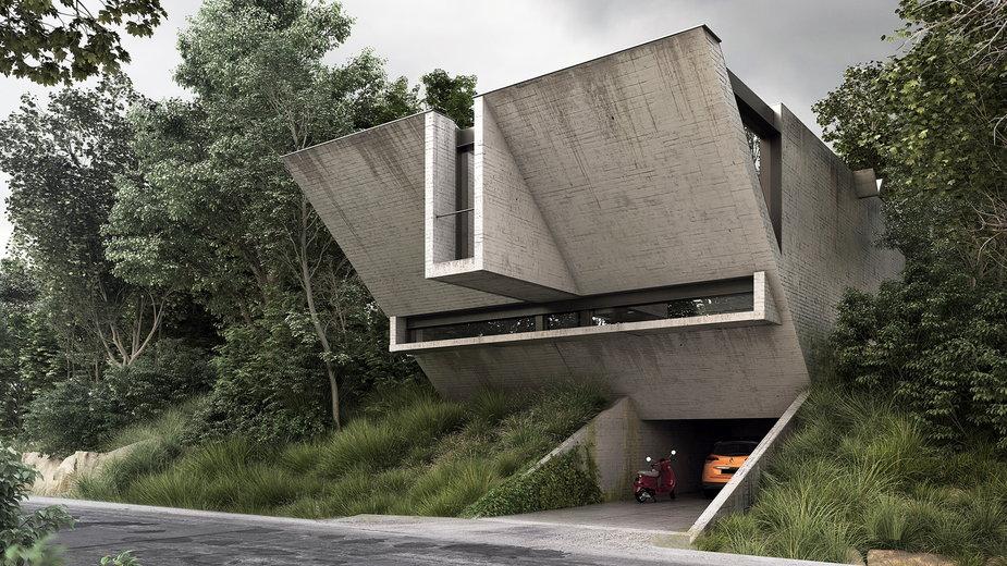 Betonowy dom jednorodzinny
