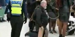 Szok na stacji. Prowadziła mężczyznę na łańcuchu