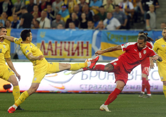 Aleksandar Prijović na meču Ukrajina - Srbija