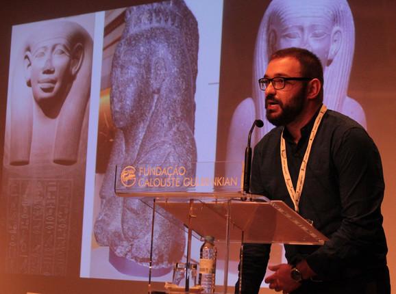 Nenad Marković, istoričar i egiptolog na jedenom od predavanja