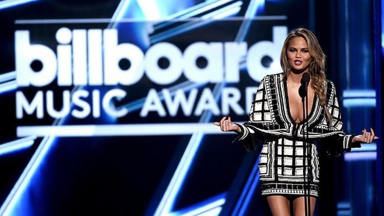 Chrissy Teigen on stage of the Billboard Music Awards 2015
