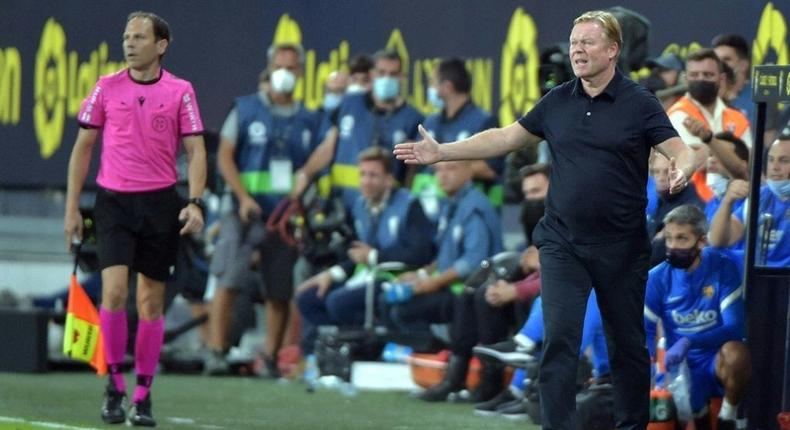 Ostentatious protests: Ronald Koeman's sideline behaviour earned him a red card at Cadiz and a two-match ban Creator: CRISTINA QUICLER