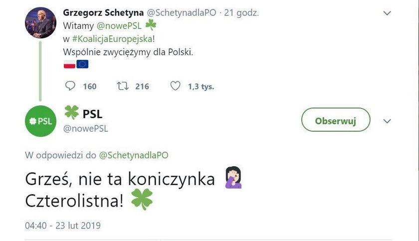 Grzegorz Schetyna zaliczył wpadkę