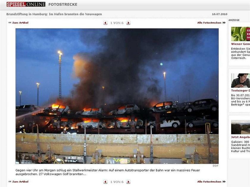 Podpalili pociąg z autami. Zdjęcia