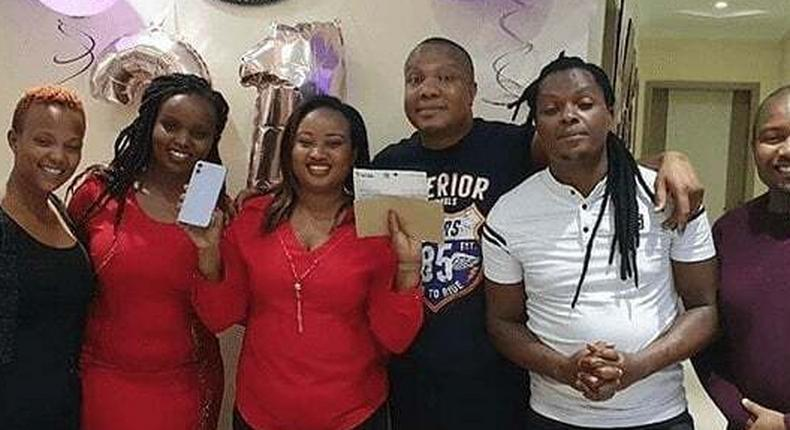 KBC radio presenter Bonnie Musambi, his wife Betty Musangi and friends celebrating Betty's 31st birthday