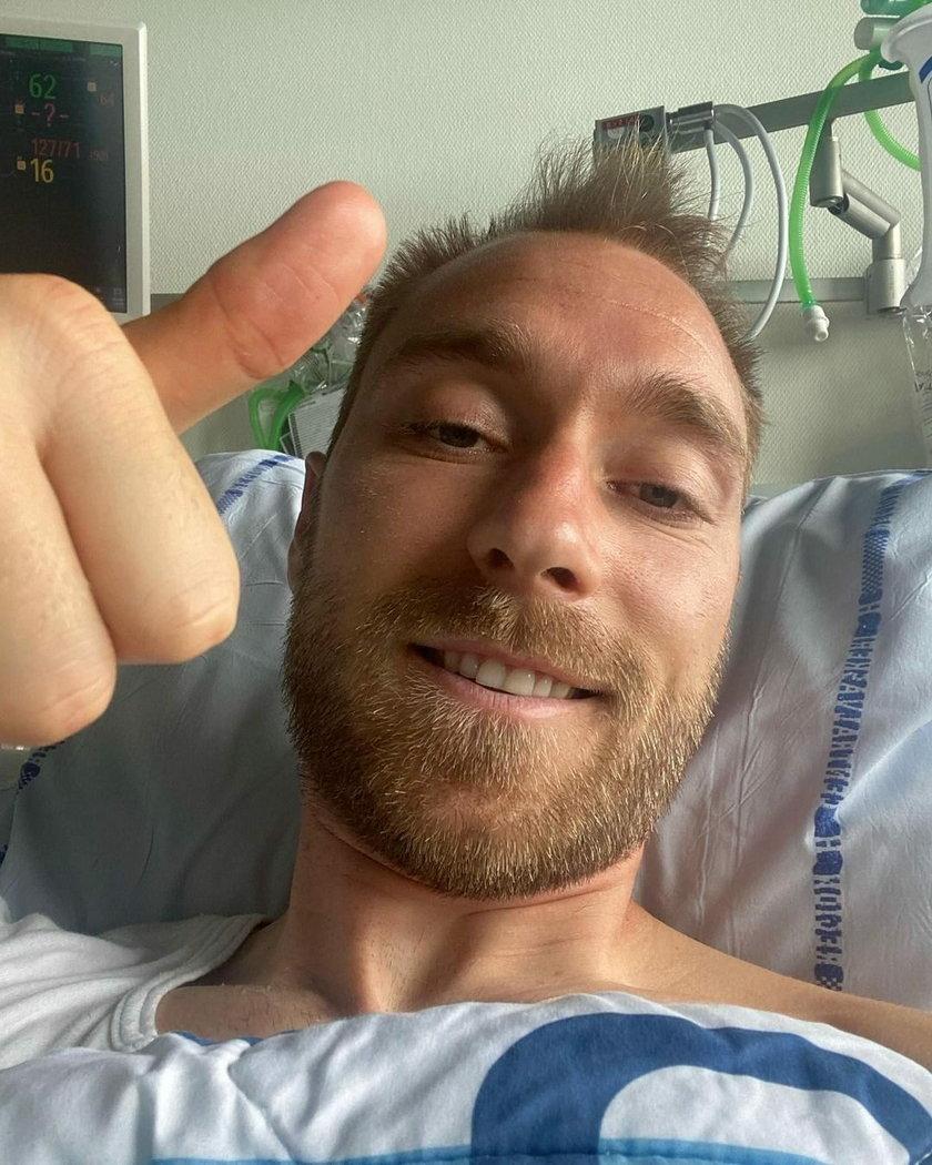 Pierwsze zdjęcie Eriksena ze szpitala.