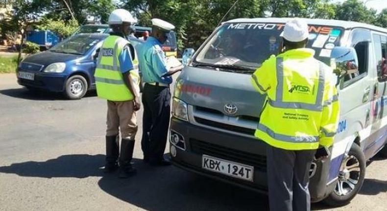 NTSA officials inspecting a PSV vehicle