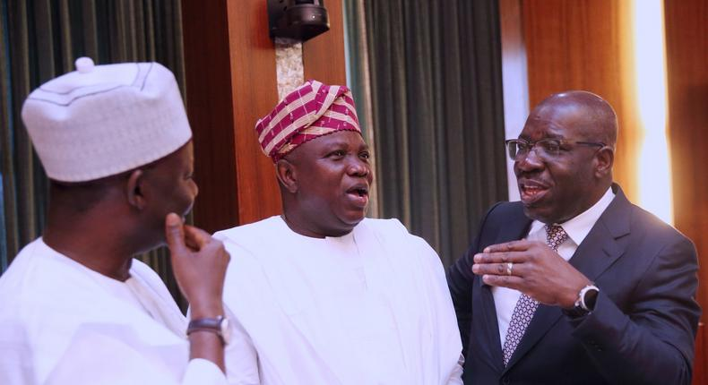 Lagos state governor, Akinwunmi Ambode, Godwin Obaseki of Edo state and Gombe's Ibrahim Dankwambo during NEC meeting at the Statehouse