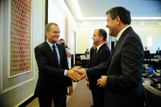 Premier Donald Tusk oraz Wicepremier Janusz Piechocinski podczas posiedzenia rady ministrow