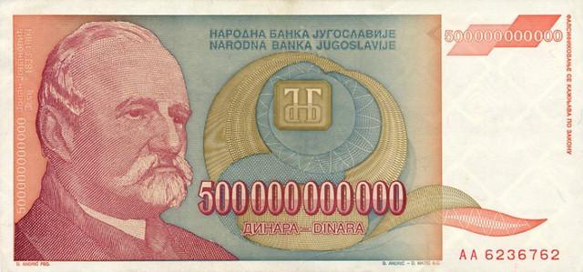 Novčanice u bilionima dinara