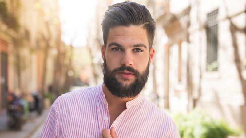 shutterstock_419434906, facet, koszula, broda, róż, mężczyzna, chłopak, przystojniak