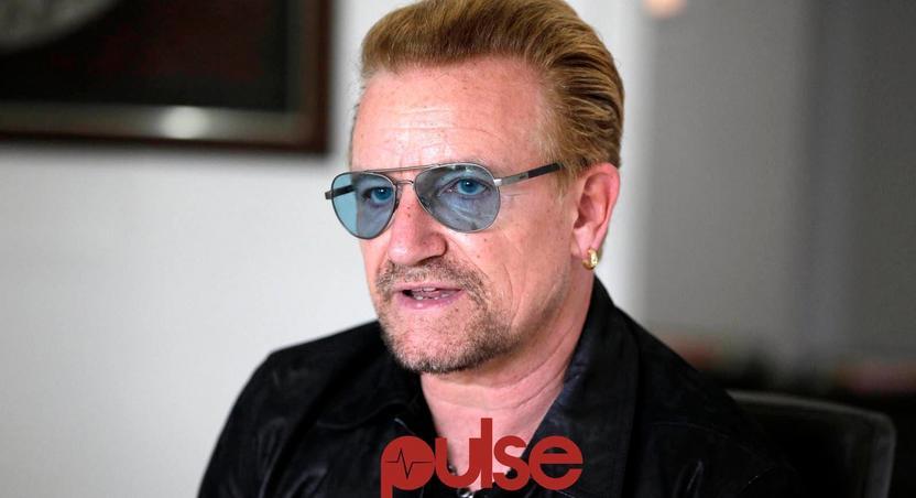 Rock star, Bono at ONE campaign press conference.