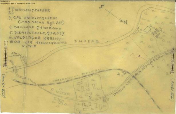 Odręczna mapa miejsca mordu w Lesie Katyńskim. Fot. National Archives