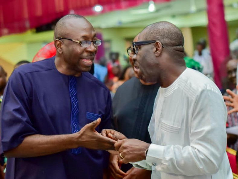 One of Ize-Iyamu (left) and Obaseki (right) is expected to win the September 19 election [Vanguard]