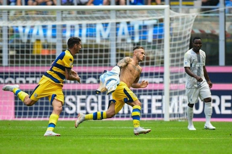 On-loan Parma defender Federico Dimarco scored his first Serie A goal against his parent club Inter Milan at the San Siro.