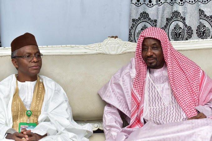 Governor Nasiru El-Rufai visits dethroned Emir of Kano, Muhammad Sanusi II at his new 'home' in Nasarawa town of Awe. [Twitter/@GovKaduna]