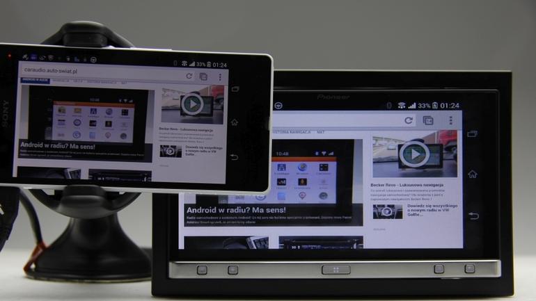 Pioneer SPH-DA110. Klonowanie obrazu z telefonu z Android działa świetnie.