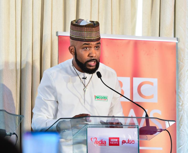 Olubankole Wellington (Banky W) of the Modern Democratic Party (MDP) at a debate for candidates contesting for the Eti-Osa constituency seat in the House of Representatives