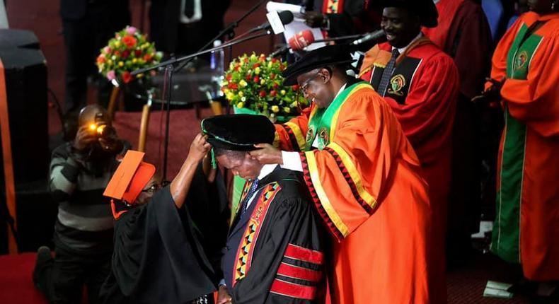 Zambian President Edgar Lungu being conferred with an honorary doctorate in law for exceptional leadership and upholding the rule of law.