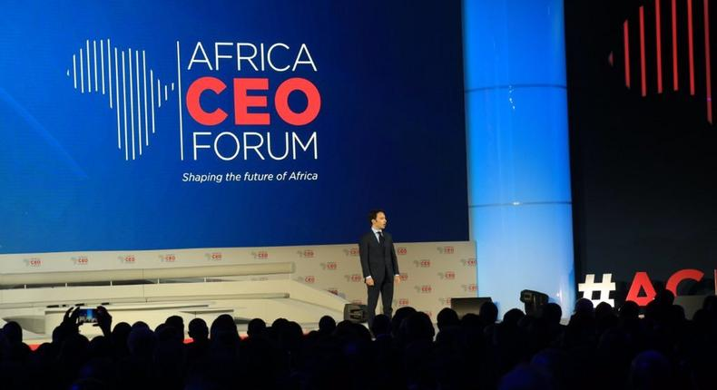Amir Ben Yahmed, President and Founder Africa CEO Forum, giving opening remarks at the ACF2019 (Twitter/RadissonKigali)