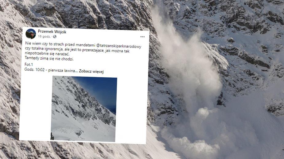Grupę turystów w Tatrach ominęły dwie groźne lawiny