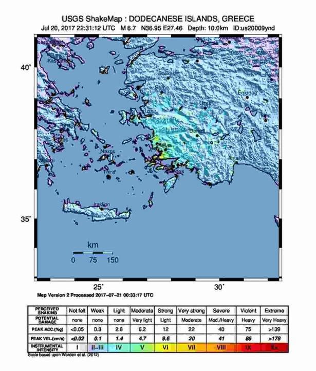 Trzęsienie ziemi na wyspie Kos, Grecja, EPA USGS