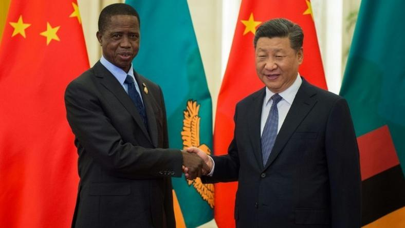 Zambian President Edgar Lungu with his Chinese counterpart Xi Jinping in Beijing. Zambia has been handing lucrative contracts to Chinese firms