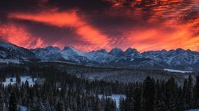 Krwistoczerwone niebo nad Tatrami