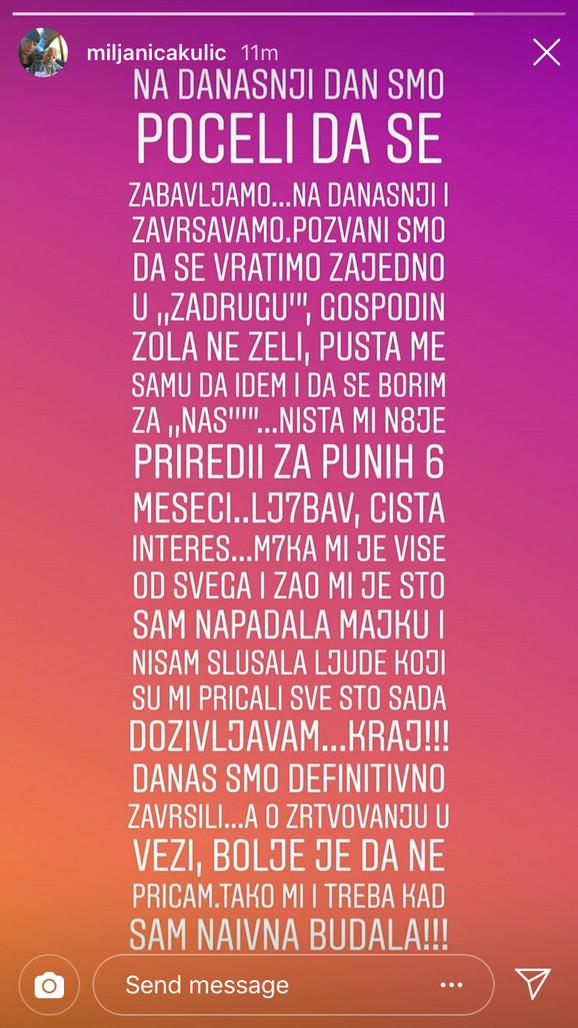 Miljanina objava na Instagramu