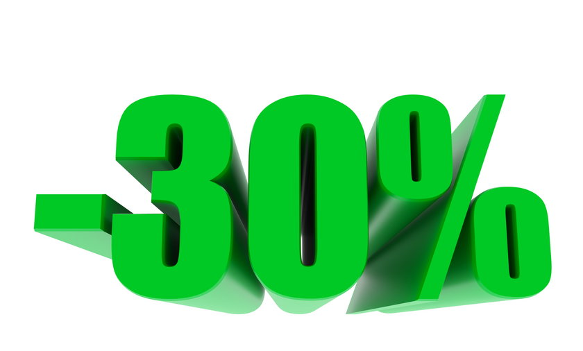 -30 percent off discount promotion sale. 3D Render. 3D-Illustration percent discount collection for