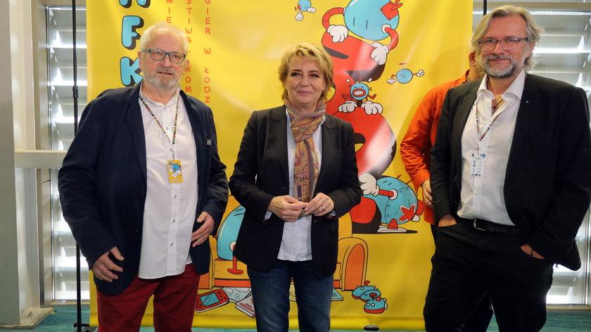 Grzegorz Rosiński, Hanna Zdanowska i Piotr Rosiński, syn rysownika