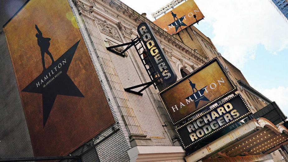 "Richard Rodgers Theatre. Reklama spektaklu ""Hamilton"" (2020)"