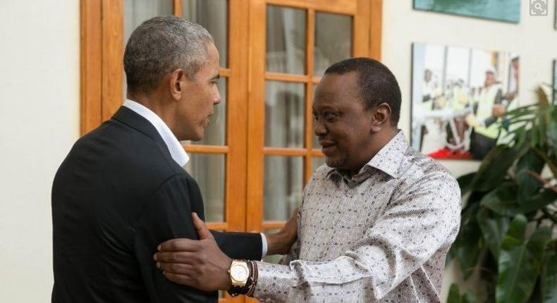 Former US President Barack Obama with president Uhuru Kenyatta at State House. Barack Obama arrives in Kenya