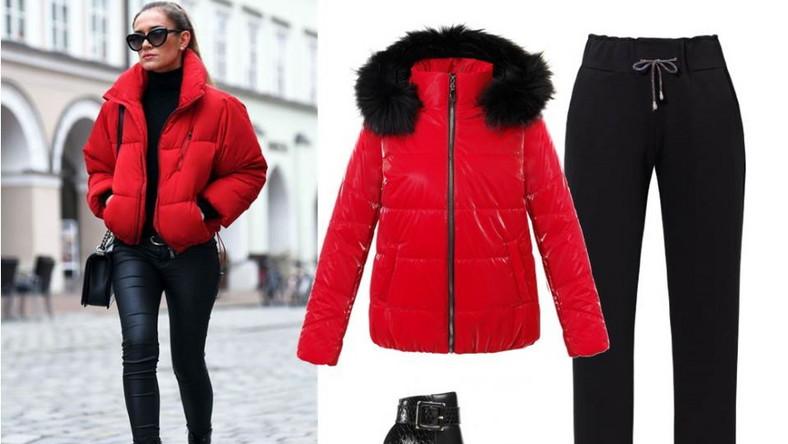 Trudno się nie zgodzić, że najbardziej energetyzującym kolorem jest czerwień. I właśnie w tym kolorze sprawdzi się tak modna w tym sezonie krótka puchówka. Pasuje idealnie do czarnych, skórzanych botków. NA ZDJĘCIU: kurtka - Fratelli/fratelli.com.pl, spodnie - Midori Feminine Fashin/midori.pl, buty - Menbur/menbur.pl.