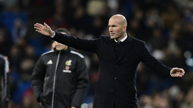 Real Madrid's coach Zinedine Zidane gestures during their Spanish Copa del Rey (King's Cup) quarter-final first leg football match against Celta de Vigo at the Santiago Bernabeu stadium in Madrid on January 18, 2017